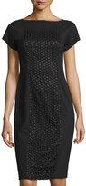 Lafayette 148 New York Eyelet-Paneled Short-Sleeve Dress, Black