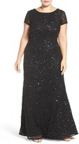 Adrianna Papell Plus Size Women's Embellished Scoop Back Gown