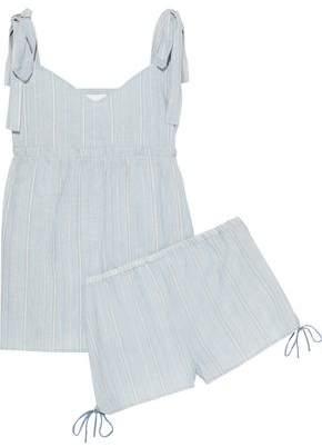 Three J NYC Jackie Bow-detailed Striped Cotton-poplin Pajama Set