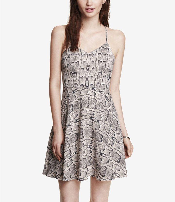 Express Snakeskin Print Halter Slip Dress