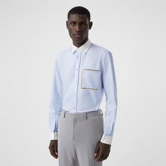 Burberry Classic Fit Lace Detail Cotton Oxford Shirt