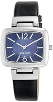 Nine West Women's NW/1841NVBL Silver-Tone and Navy Blue Strap Watch