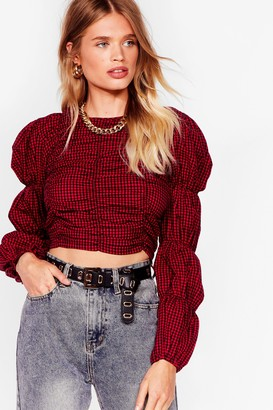 Nasty Gal Womens Gingham a Chance Puff Sleeve Crop Top - Red