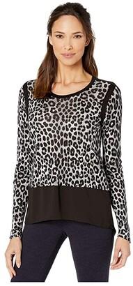MICHAEL Michael Kors Mega Cheetah Woven Top (Gunmetal) Women's Blouse