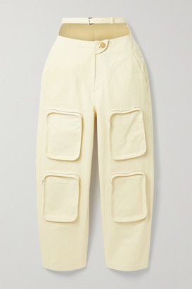 pushBUTTON Belted Cutout Cotton-canvas Tapered Pants - Beige