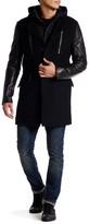 Rogue Genuine Leather Sleeve Wool Blend Jacket