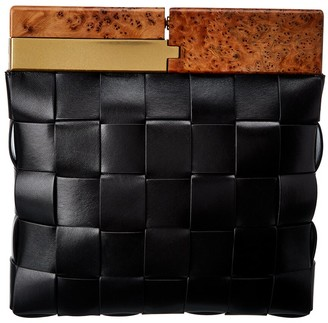 Bottega Veneta Snap Intrecciato Leather Clutch