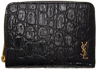 Saint Laurent Black Croc Tiny Monogramme Compact Zip Wallet