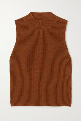 Reformation Montaigne Ribbed Organic Cotton Turtleneck Top - Brown