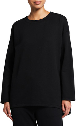 Eileen Fisher Petite Crewneck Long-Sleeve High-Low Top