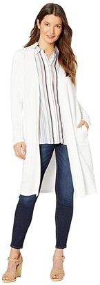 Tribal Long Sleeve Cardigan w/ Combo Yoke And Collar (White) Women's Clothing