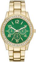 FASHION WATCHES Womens Crystal-Accent Green Dial Boyfriend Bracelet Watch