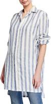 Frank And Eileen Textured Stripe Button-Down Shirtdress