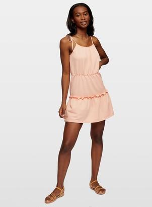 Miss Selfridge Coral Tie Tiered Camisole Dress