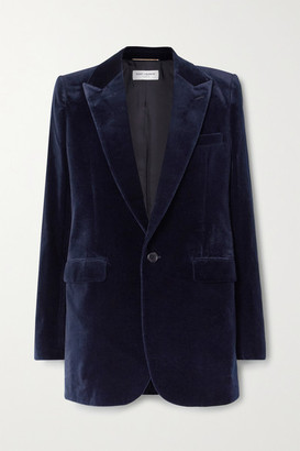 Saint Laurent Cotton-velvet Blazer - Midnight blue