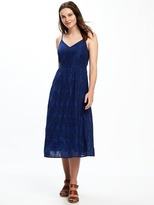 Old Navy Fit & Flare Cutwork Midi Dress for Women