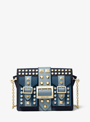 MICHAEL Michael Kors Hayden Medium Studded Saffiano Leather Messenger Bag