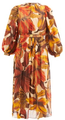 Johanna Ortiz Vida Mia Floral-print Crepe Dress - Yellow Multi