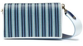 Diane von Furstenberg Soiree Striped Faux Raffia-paneled Leather Shoulder Bag