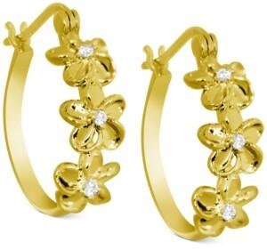 Kona Bay Crystal Flower Hoop Earrings in Gold-Plate