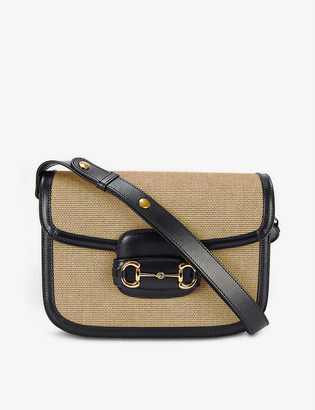 Gucci Horsebit 1955 canvas and leather shoulder bag
