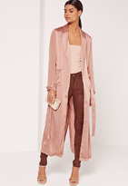 Missguided Satin and Chiffon Mixed Belted Duster Coat Bronze