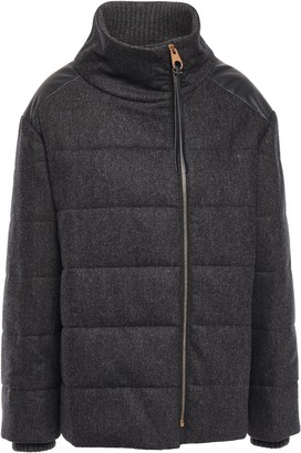 Agnona Leather-trimmed Quilted Wool-blend Down Jacket