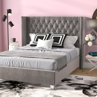 Willa Arlo Interiors Jennie Tufted Upholstered Low Profile Platform Bed Size: King, Color: Navy