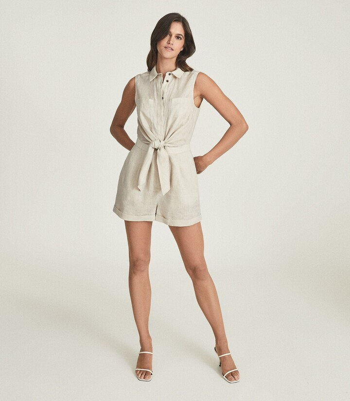 Thumbnail for your product : Reiss Ema - Linen Playsuit in Stone