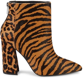 Charles David Tiger & Leopard Calf Hair Point-Toe Booties