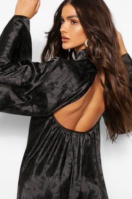 boohoo Satin Jacquard Backless High Neck Swing Dress