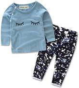 Albee Yang Baby Girl Glasses Long Sleeve Top + Pants 2 Pieces Clothing Set