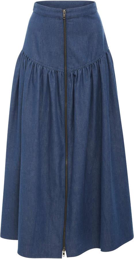 Mara Hoffman Drop-Waist Denim Skirt