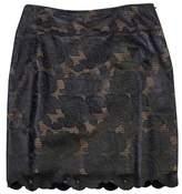 Kay Unger Black Leather Laser Cut Rose Print Skirt
