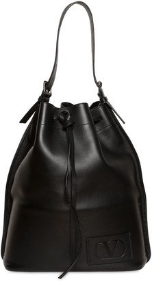 Valentino Embossed V Logo Leather Bucket Bag