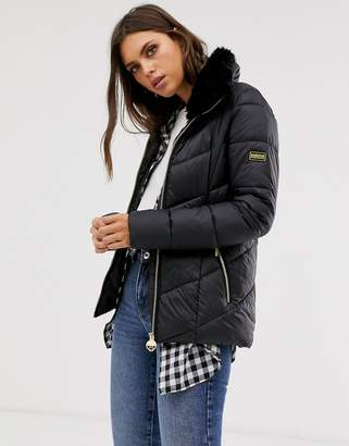 Barbour International nurburg chevron quilted jacket with detachable faux fur collar-Black