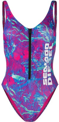Diesel Swimsuit with zip and camo-fish print