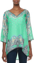 Johnny Was 3/4-Sleeve Printed V-Neck Tunic, Plus Size