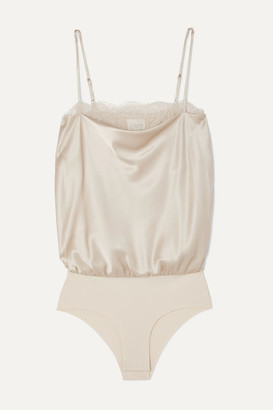 CAMI NYC The Romy Lace-trimmed Stretch-silk Charmeuse And Jersey Bodysuit - Beige