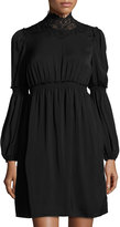 Max Studio High-Neck Bubble-Sleeve Dress, Black