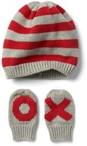 Gap Love stripe hat and mitten set