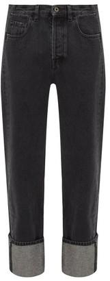 Valentino V-logo Straight-leg Jeans - Mens - Black White