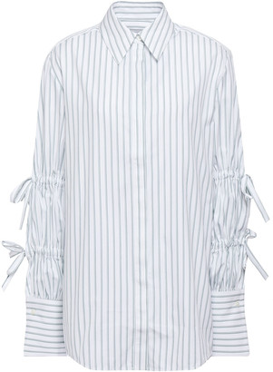 Victoria Victoria Beckham Bow-embellished Striped Cotton-poplin Shirt