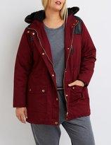 Charlotte Russe Plus Size Faux Fur & Leather-Trim Anorak Jacket
