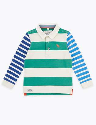 Marks and Spencer Cotton Contrast Stripe Rugby Top (2-7 Years)