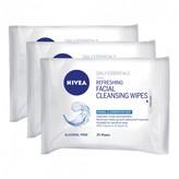 Nivea Refreshing Facial Wipes 25's 3 pack