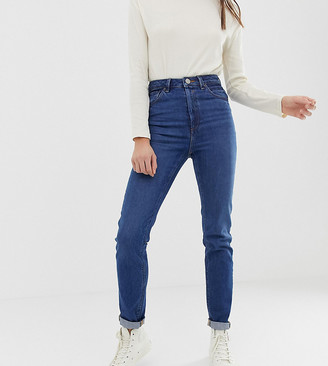 Asos Tall ASOS DESIGN Tall Recycled Farleigh high waisted slim mom jeans in dark wash
