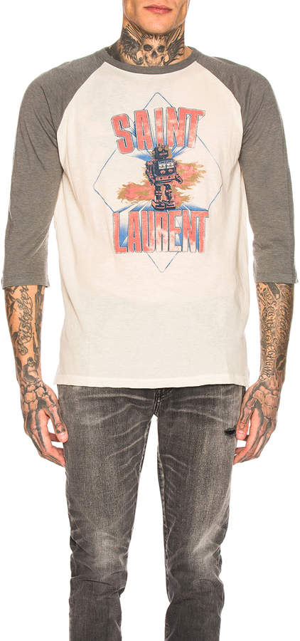 Saint Laurent Graphic Long Sleeve Tee in Natural & Grey | FWRD