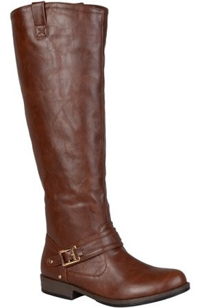 a5cc448961a Women's Wide Calf Round Toe Buckle Detail Boots