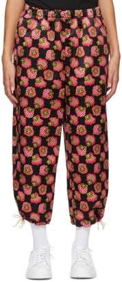 Comme des Garcons Black and Pink Satin Print Lounge Pants